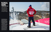 The Telegraph Ski & Board Magazine | Billy Morgan during the Olympic Big Air final training session at Alpensia Stadium in PyeongChang, South Korea. Published January 2019