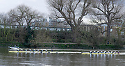 Hammersmith, Greater London, UK., 8th March 2020, Pre Boat Race Fixture, Oxford University Women's Boat Club, OUWBC vs ARS Nereus, Amsterdam,  Championship Course, Putney to Mortlake, River Thames, [Mandatory Credit: Peter SPURRIER/Intersport Images], <br /> OUWBC on Surrey Station,