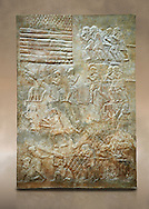 Stone relief sculptured panel of cedar of Lebanon being transported. From the northern courtyard,  Inv AO 19888 from Dur Sharrukin the palace of Assyrian king Sargon II at Khorsabad, 713-706 BC.  Louvre Museum Room 4 , Paris .<br /> <br /> If you prefer to buy from our ALAMY PHOTO LIBRARY  Collection visit : https://www.alamy.com/portfolio/paul-williams-funkystock/ancient-assyria-antiquities.html  Refine search by adding background colour, place, subject, museum etc into the LOWER SEARCH WITHIN GALLERY box to <br /> <br /> Visit our ANCIENT WORLD PHOTO COLLECTIONS for more photos to download or buy as wall art prints https://funkystock.photoshelter.com/gallery-collection/Ancient-World-Art-Antiquities-Historic-Sites-Pictures-Images-of/C00006u26yqSkDOM
