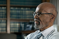 Thelton Henderson, the senior judge of the U.S. District Court for the Northern District of California, photographed in his office in the Philip Burton Federal Building in San Francisco, Tuesday, June 13, 2017. Henderson, 83, will step down from the bench in August. (Photo by D. Ross Cameron)