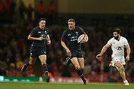 Rhys Priestland of Wales © makes a break. Under Armour 2017 series Autumn international rugby, Wales v Georgia at the Principality Stadium in Cardiff , South Wales on Saturday 18th November 2017. pic by Andrew Orchard, Andrew Orchard sports photography