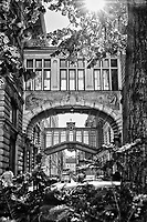 Prague, Czech Republic, Europe, Architecture, walkway, skywalk, walkway, elevated, black and white,