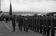 Canadian Prime Minister, Pierre Trudeau arrives in Dublin    (J17).14.03.1975.03.14.1975.3rd April 1975..Pierre Trudeau arrived today for a brief visit to Ireland. He was greeted by the Taoiseach Mr. Liam Cosgrave on his arrival at Dublin Airport..Photograph of Canadian Prime Minister Pierre Trudeau as he inspects the honour guard on the tarmac of Dublin Airport.
