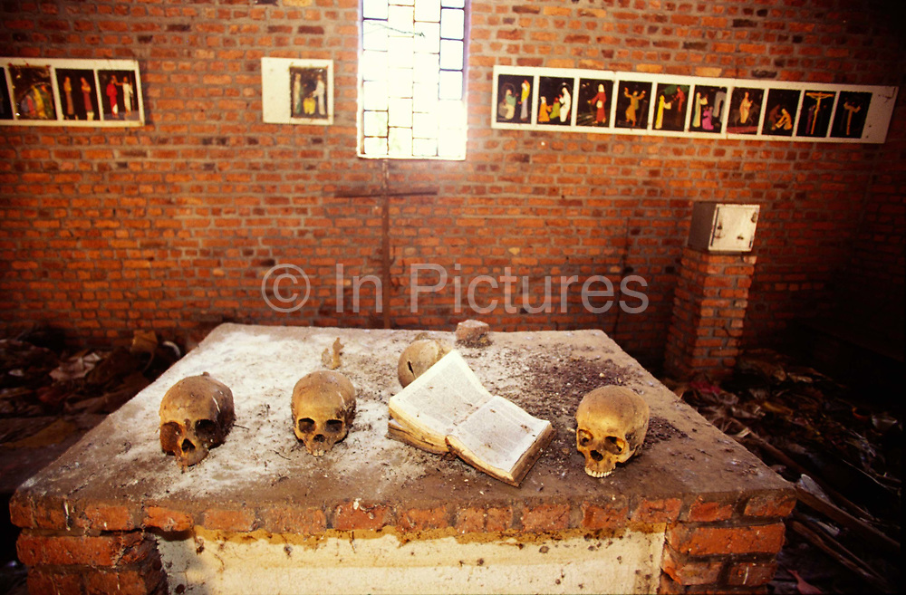 Skulls on the alter of the church at Ndera, Rwanda that is now a national monument to those who were murdered inside by Hutu militias during the 1994 genocide.