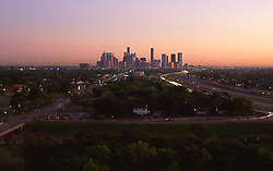 Houston, Texas skyline viewed from the south at sunset.