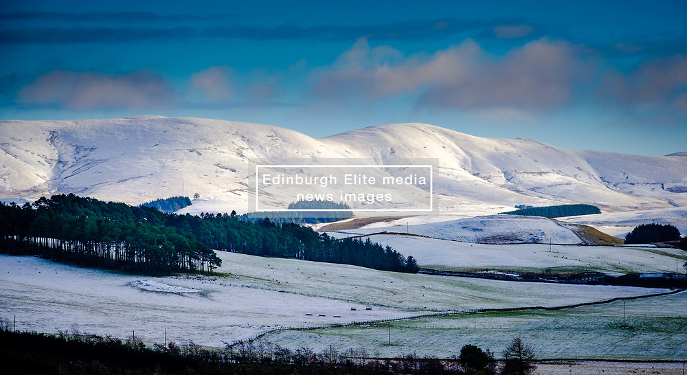 Snow on the hills in South Lanarkshire, Scotland on a cold winter morning.<br /> <br /> (c) Andrew Wilson | Edinburgh Elite media