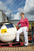 Christine Gommenginger,  a scientists at the National Oceanographic Centre in Southampton pictured on the docks and around the centre with equipment used for gathering data from the oceans. She is  particularly interested studying the relationship of  wave activity to global warming.