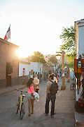 Evening on Main Street, San Pedro de Atacama, Atacama Desert, Chile, South America;