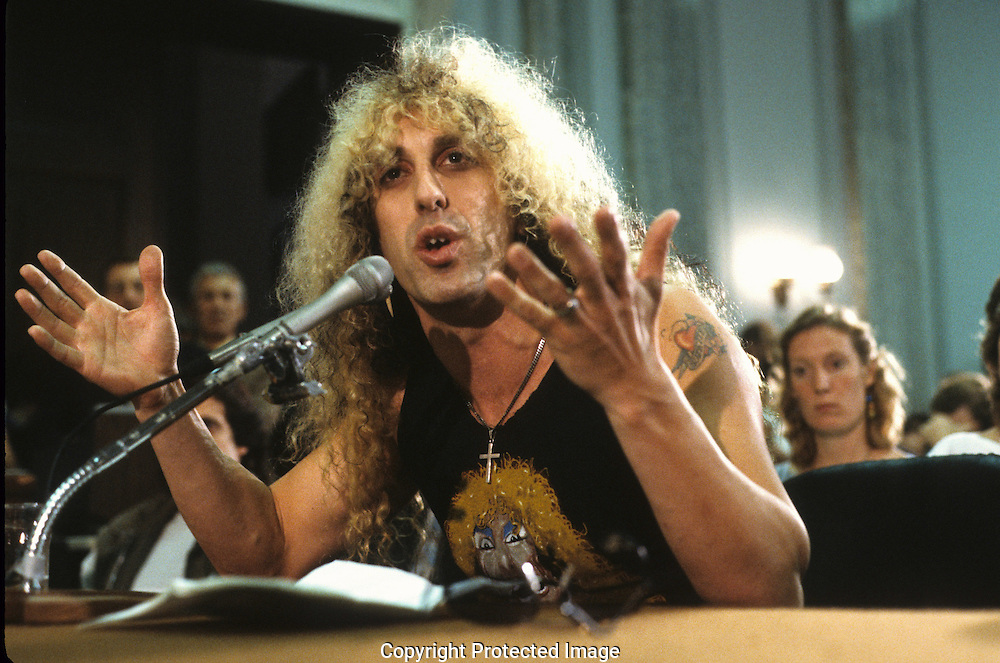 """Dee Snider of Twisted Sister, testifies at a senate hearing on """"Dirty Rock"""" in September 1985...Photograph by Dennis Brack  bb26"""