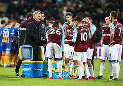 January 16, 2018 - London, England, United Kingdom - West Ham United manager David Moyes  having words at extra time.during FA Cup 3rd Round reply match between West Ham United against Shrewsbury Town at The London Stadium, Queen Elizabeth II Olympic Park, London, Britain - 16 Jan  2018  (Credit Image: © Kieran Galvin/NurPhoto via ZUMA Press)