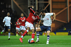 Jonathan Kodjia of Bristol City turns inside Bailey Wright of Preston North End - Mandatory byline: Dougie Allward/JMP - 07966386802 - 15/09/2015 - FOOTBALL - Deepdale Stadium -Preston,England - Bristol City v Preston North End - Sky Bet Championship