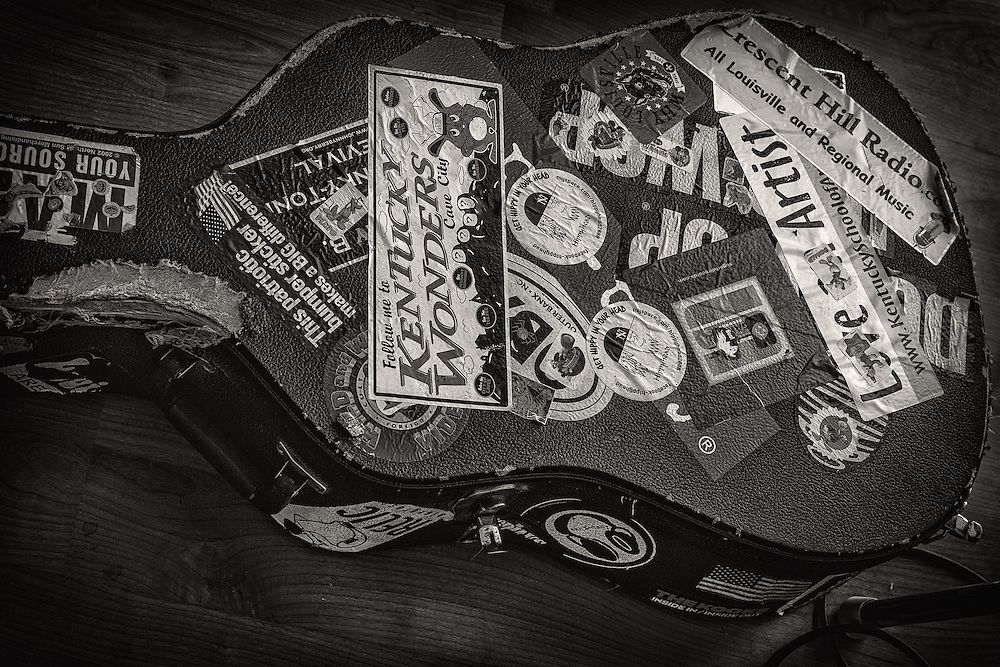A well loved guitar case.