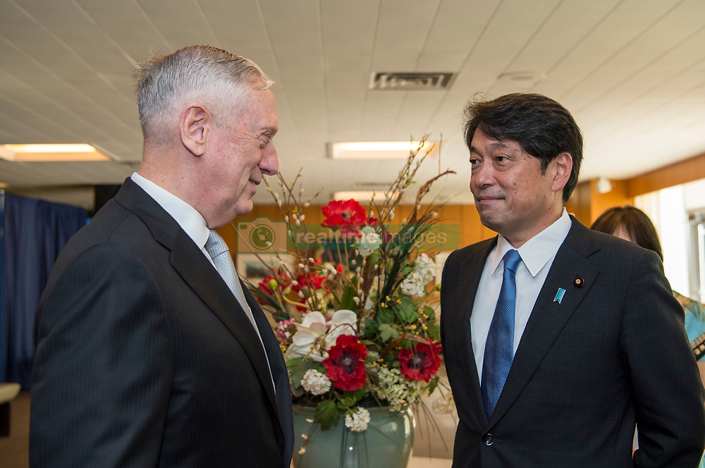 August 17, 2017 - Washington, DC, United States of America - U.S. Defense Secretary Jim Mattis, left, chats with Japanese Defense Minister Itsunori Onodera before the start of the U.S.-Japan Security Consultative Committee meetings at the Department of State August 17, 2017 in Washington, D.C. (Credit Image: © Brigitte N. Brantley/Planet Pix via ZUMA Wire)