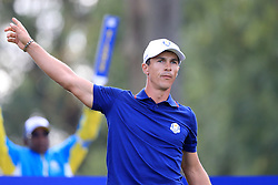Team Europe's Thorbjorn Olesen gestures on the fourteenth tee during the Fourballs match on day one of the Ryder Cup at Le Golf National, Saint-Quentin-en-Yvelines, Paris.