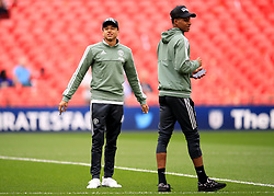 Manchester United's Jesse Lingard (left) and Marcus Rashford check out the pitch ahead of the Emirates FA Cup semi-final match at Wembley Stadium, London.
