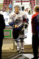 KELOWNA, CANADA, OCTOBER 22: Robin Soudek #25 of the Victoria Royals exits the ice after warm up as  the Victoria Royals visited the Kelowna Rockets on October 22, 2011 at Prospera Place in Kelowna, British Columbia, Canada (Photo by Marissa Baecker/shootthebreeze.ca) *** Local Caption *** Robin Soudek;