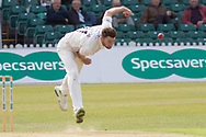 Richard Gleeson bowling during the Specsavers County Champ Div 2 match between Leicestershire County Cricket Club and Lancashire County Cricket Club at the Fischer County Ground, Grace Road, Leicester, United Kingdom on 23 September 2019.