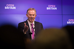 © Licensed to London News Pictures. 17/02/2017. LONDON, UK.  Tony Blair makes a keynote speech about Brexit at an Open Britain event held at Bloomberg in London. In his first major speech since the European Union (EU) referendum, former Prime Minister, Tony Blair has called for Remain supporters to fight to stop Brexit, claiming that voters were misinformed when they voted for Brexit and that Prime Minister, Theresa May's agenda is being dictated by hardline Eurosceptics.  Photo credit: Vickie Flores/LNP