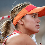PARIS, FRANCE October 01. Sofia Kenin of the United States in action against Ana Bogdan of Romania in the second round of the singles competition on Court Philippe-Chatrier during the French Open Tennis Tournament at Roland Garros on October 1st 2020 in Paris, France. (Photo by Tim Clayton/Corbis via Getty Images)