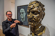 Jonathan Yeo with his sculpture - a collaboration with Google Arts & Culture to create the first physical free-standing sculpture in metal made using the Virtual Reality program Tilt Brush - From Life a new exhibition at the Royal Academy of Arts. It runs from 11 December 2017 – 11 March 2018.