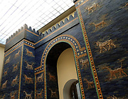 Ishtar Gates, Babylon plus details showing palms, lions and animals.