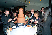 CHOCOLATE FOUNTAIN, PARTY AFTER THE OPENING OF SWEET CHARITY.  National Portrait Gallery cafe. London. 4 May 2010.  *** Local Caption *** -DO NOT ARCHIVE-© Copyright Photograph by Dafydd Jones. 248 Clapham Rd. London SW9 0PZ. Tel 0207 820 0771. www.dafjones.com.<br /> CHOCOLATE FOUNTAIN, PARTY AFTER THE OPENING OF SWEET CHARITY.  National Portrait Gallery cafe. London. 4 May 2010.