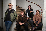 The Zangwills, a UK based indie rock band from Cheshire. The band members are (left to right): Adam Spence (drums), Jake Vickers (vocals & guitar), Sam Davies (lead guitar), Ed Dowling (bass).<br /> Photo©Steve Forrest/Workers' Photos