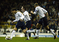 Photograph: Scott Heavey.<br /> Tottenham Hotspur v Manchester City. FA Cup Fourth Round Replay. 04/02/2004.<br /> Chritain Ziege celebrates his free-kick, to put Spurs 3-0 ahead in the first half