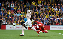 Watford goalkeeper Ben Foster fails to make a save as Manchester United's Romelu Lukaku (left) scores his side's first goal of the game