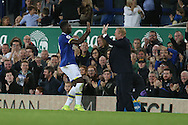 Romelu Lukaku of Everton (l) celebrates with his manager  Ronald Koeman after he scores his teams 1st goal. Premier league match, Everton v Crystal Palace at Goodison Park in Liverpool, Merseyside on Friday 30th September 2016.<br /> pic by Chris Stading, Andrew Orchard sports photography.