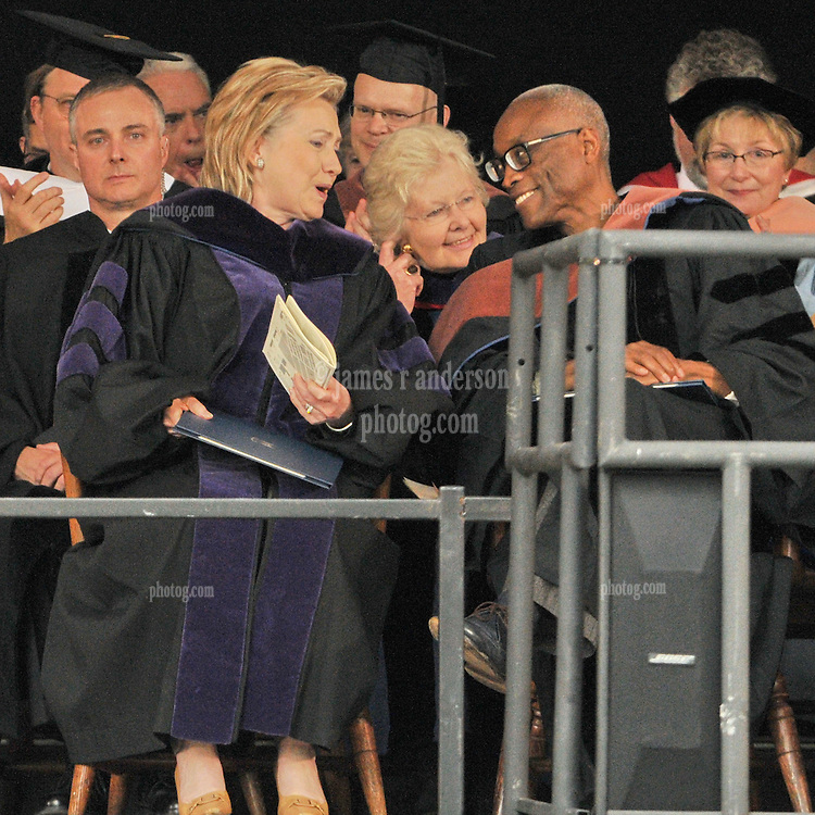 Former Secretary of State Hillary Rodham Clinton speaking with Choreographer Bill T. Jones after receiving her Honorary Doctorate of Law from Yale University | Commencement 2009. Credit Photography: James R Anderson