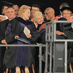 Former Secretary of State Hillary Rodham Clinton speaking with Choreographer Bill T. Jones after receiving her Honorary Doctorate of Law from Yale University   Commencement 2009. Credit Photography: James R Anderson