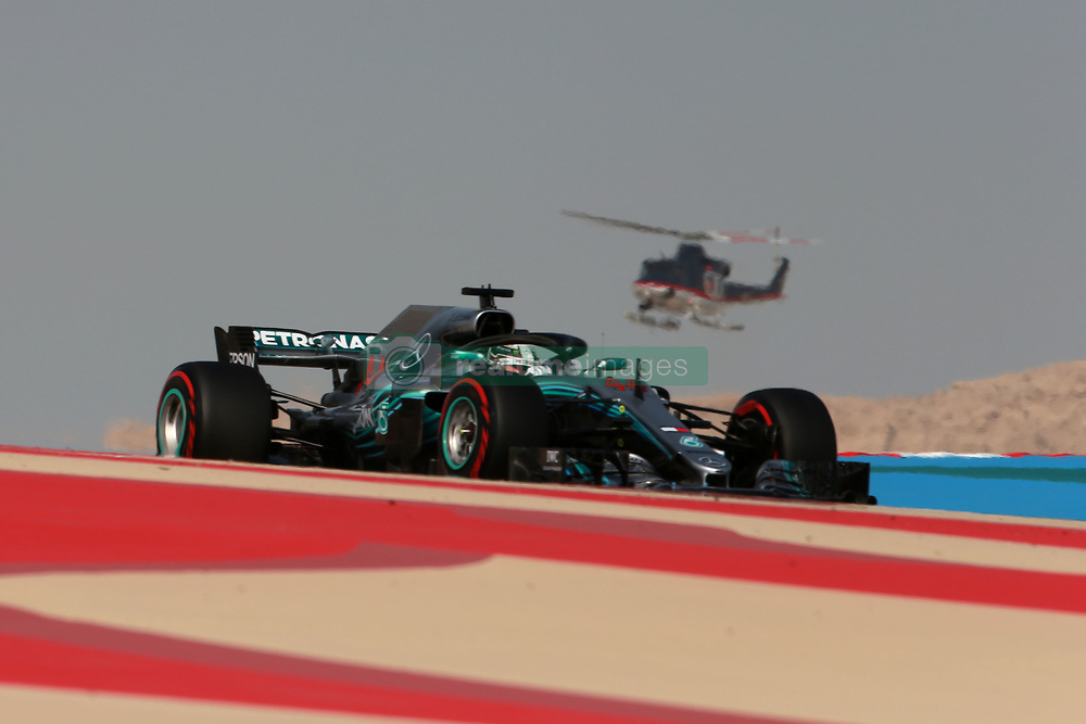 April 7, 2018 - Sakhir, Bahrain - Motorsports: FIA Formula One World Championship 2018, Grand Prix of Bahrain, Helicopter#44 Lewis Hamilton (GBR, Mercedes AMG Petronas F1 Team) (Credit Image: © Hoch Zwei via ZUMA Wire)