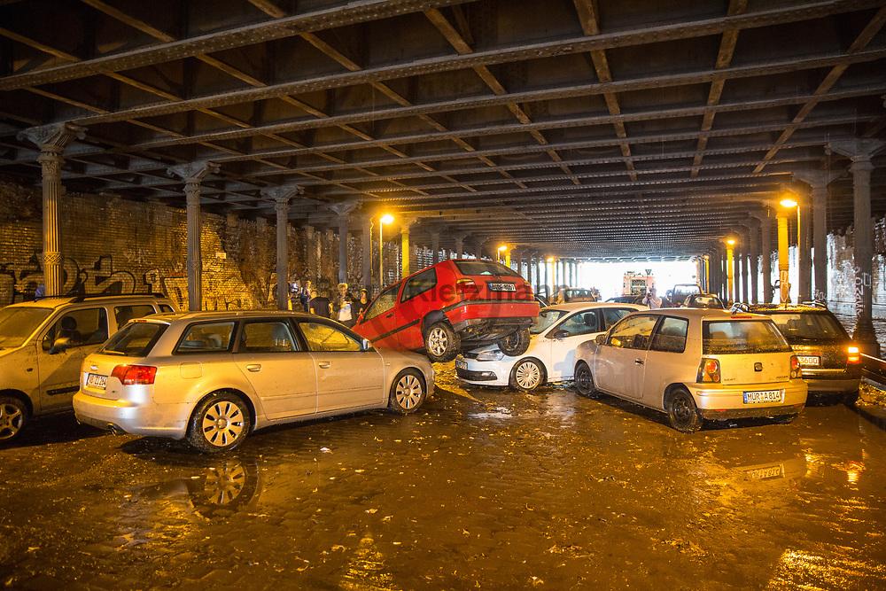 Berlin, Germany - 27.07.2016<br /> <br /> The Gleim Tunnel in Berlin-Prenzlauer Berg was full of water due to heavy rainfalls. Numerous vehicles parked in the tunnel were damaged.<br /> <br /> Durch die starken Regenfaelle lief der Gleimtunnel in Berlin-Prenzlauer Berg voll mit Wasser. Zahlreiche Fahrzeuge die im Tunnel parkten wurden beschaedigt.<br /> <br /> Photo: Bjoern Kietzmann