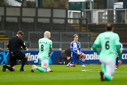 Luke McCormick of Bristol Rovers takes a knee - Rogan/JMP - 30/11/2020 - FOOTBALL - Memorial Stadium - Bristol, England - Bristol Rovers v Darlington - FA Cup Second Round Proper.