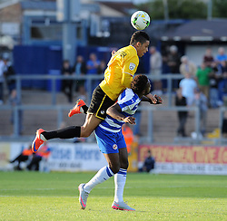 Daniel Leadbitter of Bristol Rovers challenges Reading's Hope Akpan - Mandatory by-line: Neil Brookman/JMP - 21/07/2015 - SPORT - FOOTBALL - Bristol,England - Memorial Stadium - Bristol Rovers v Reading - Pre-Season Friendly