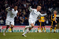 Photo: Jed Wee.<br />Bolton Wanderers v Wigan Athletic. The FA Barclaycard Premiership. 04/02/2006.<br />Bolton's Stelios Giannakopoulos (R) celebrates his goal with Ricardo Vaz Te.