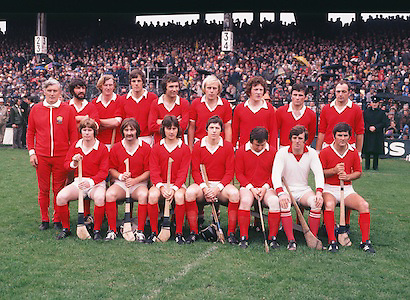 The Cork team before the The Cork captain Martin O'Doherty patted on the head by a young supporter after receiving the Liam MacCarthy Cup after the All Ireland Senior Hurling Final, Cork v Wexford in Croke Park on the 4th September 1977. Cork 1-17 Wexford 3-8.<br /> <br /> Back row from left, Fr Troy, Mick Malone, Tim Crowley, Ray Cummins, J Barry Murphy, J Horgan, J Crowley, B Murphy, D Coughlan.<br /> Front row from left, D McCurtain, G McCarthy, T Cashman, M O'Doherty captain, S O'Leary, M Coleman, C McCarthy.
