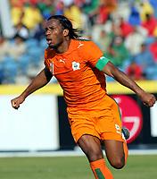 Didier Drogba Celebrates scoring 1st goal<br />Cote D'Ivoire 2005/06<br />25th MTN Africa Cup Of Nations Egypt 2006<br />Morocco V Cote D' Ivoire 21/01/06<br />Photo Robin Parker Fotosports International