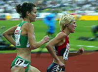 Friidrett, 10. august 2002. Europamesterskapet 2002. Gunhild Halle Haugen, Norge, og Sonia O´Sullivan, Irland. Foto: Anders Hoven, Digitalsport