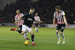 February 13, 2019 - Sheffield, South Yorkshire, United Kingdom - SHEFFIELD, UK 13TH FEBRUARY Lewis Wing of Middlesbrough lines up a shot past Richard Stearman of Sheffield United during the Sky Bet Championship match between Sheffield United and Middlesbrough at Bramall Lane, Sheffield on Wednesday 13th February 2019. (Credit: Mark Fletcher | MI News) (Credit Image: © Mi News/NurPhoto via ZUMA Press)