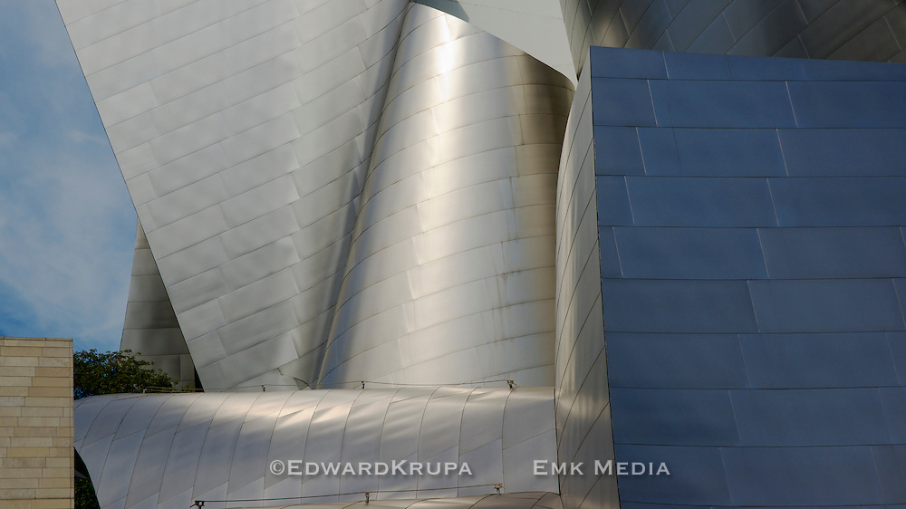 Detail of architect Frank Gehry's Walt Disney Concert Hall, Los Angeles, California.