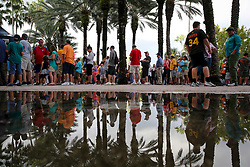 August 29, 2017 - St. Petersburg, Florida, U.S. - WILL VRAGOVIC   |   Times.Fans wait at Gate 1 for the doors to open before the game between the Texas Rangers and the Houston Astros at Tropicana Field in St. Petersburg, Fla. on Tuesday, Aug. 29, 2017. (Credit Image: © Will Vragovic/Tampa Bay Times via ZUMA Wire)