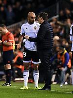 Valencia's  coach Gary Neville and Aymen Abdennour during La Liga match. January 3, 2016. (ALTERPHOTOS/Javier Comos)
