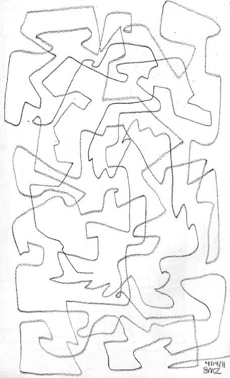 """Hawk Rhythm – 5.5""""x8.5"""", Graphite on paper, 2011"""