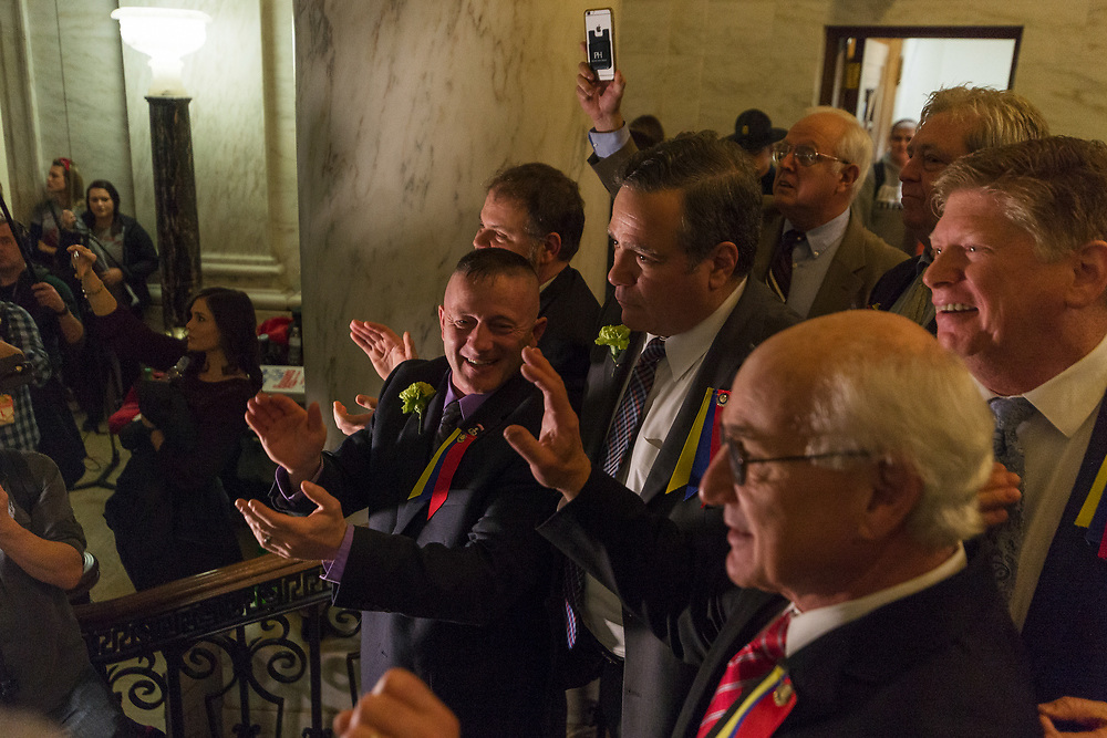 State Senate Democrats leave the Senate after passage of a bill to increase state worker pay across the board by 5% at the Capitol in Charleston, W.V., on Tuesday, March 06, 2018; the ninth day of statewide school closures.
