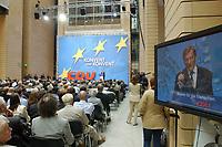 """2003, BERLIN/GERMANY:<br /> Veranstaltung """"Konvent zum Konvent"""" der CDU, waehrend der Rede von Wolfgang Schuessel, OeVP, Bundeskanzler Oesterreich und Bundesparteiobmann der Oesterreichischen Volkspartei, Debis-Haus<br /> IMAGE: 20030512-02-016<br /> KEYWORDS: Wolfgang Schüssel, Übersicht, Uebersicht"""