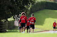 young Wales players Ethan Ampadu (l) and Ben Woodburn arrive for the Wales football team training at the Vale Resort, Hensol , South Wales on Monday 2nd October 2017, the team are preparing for their FIFA World Cup qualifier away to Georgia this week. pic by Andrew Orchard, Andrew Orchard sports photography