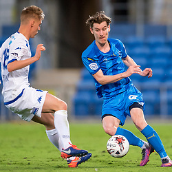 BRISBANE, AUSTRALIA - SEPTEMBER 20: Matthew Schmidt of Gold Coast City and Jesse Daley of South Melbourne in action during the Westfield FFA Cup Quarter Final match between Gold Coast City and South Melbourne on September 20, 2017 in Brisbane, Australia. (Photo by Gold Coast City FC / Patrick Kearney)