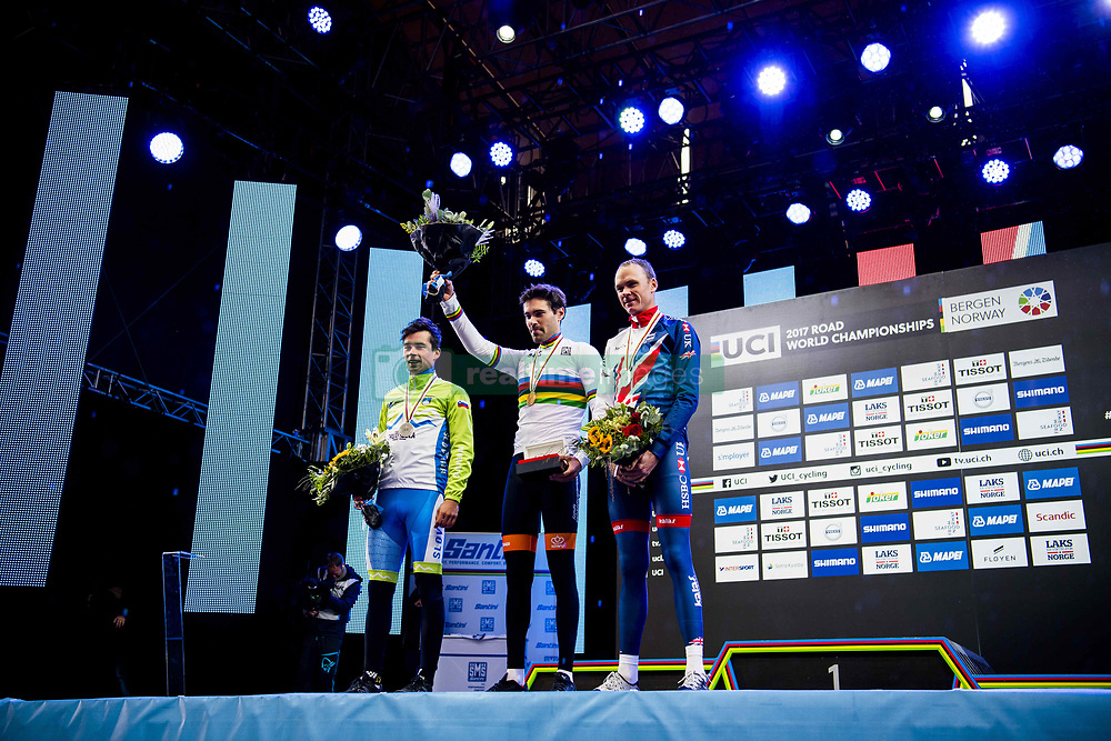 September 20, 2017 - Bergen, NORWAY - 170920  Primoz Roglic of Slovenia, Tom Dumoulin of The Netherlands and Christopher Froome of Great Britain during the award ceremony after the Men Elite Individual Time Trial on September 20, 2017 in Bergen..Photo: Jon Olav Nesvold / BILDBYRN / kod JE / 160023 (Credit Image: © Jon Olav Nesvold/Bildbyran via ZUMA Wire)
